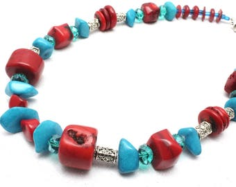 Chunky Turquoise Howlite and Coral Necklace, Southwestern Style Necklace