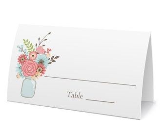 Mason Jar Bouquet Place Cards, Fill In Cards, Table Seating, Wedding Escort Cards, Buffet Markers - Set of 12, Size 2 x 3.5 inches