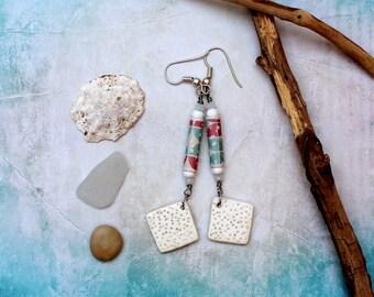 Earrings Handmodelling beads, paper beads, glass beads, summer, white