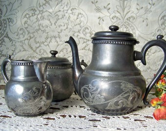Antique Tea Set Adelphi Silver Plate Teapot Creamer Sugar Aged Patina Aged Rich Patina Tea Service Shabby Cottage Decor Circa 1900