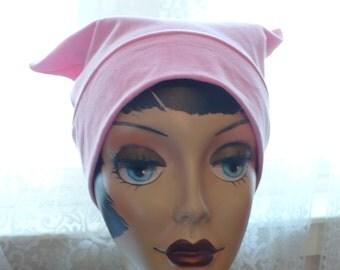 Soft Pink Pussy Hat Lightweight Cotton Lycra knit