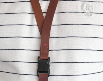 Leather Lanyard, Genuine Leather I.D.  Holder, Fine Leather Key Lanyard, 2 Piece Snap, Badge Holder, ID Holder, Keychain Holder Necklace