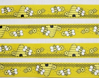 Cute Yellow Ribbon With Beehives, 7/8 Inch, 5 Yards or 10 Yards,  Bee Ribbon, Yellow Grosgrain Ribbon, Sparkly, Novelty Ribbon