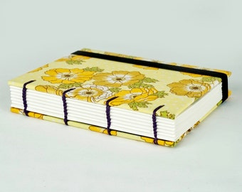 Travel Journal, Retro Fabric Journal, Hand Sewn Notebook, Spring Journal, Yellow Flowers, Mother's Day gift, Keepsake Notebook, Sketchbook