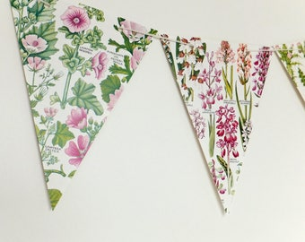Pink Floral Botanical Bunting, recycled banner, Flower Garland, eco-friendly paper bunting