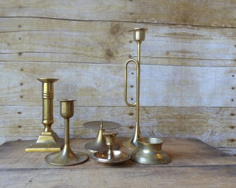 Mid Century Brass Candle Holders Set of 6