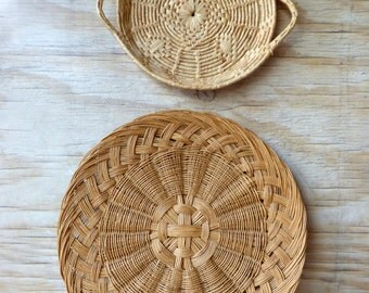 Two Charming Baskets - Two Shallow Baskets - Woven Tray