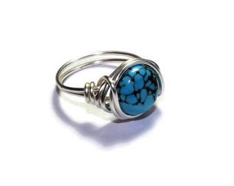 Blue Turquoise Jewelry - Wire Wrapped Ring, Boho Wired Silver Band