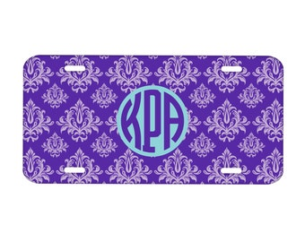 Metal License Plate Personalized Monogrammed: Damask