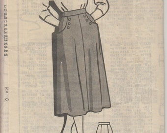 """Sewing Pattern Vintage 50s Midi Skirt with Buttoned Pockets Waist 36"""" (91 cm) - Marian Martin Mail Order T9177"""