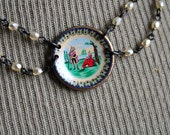 The Mansplainer Necklace - Vintage Tiny Miniature Dish or Plate Charms