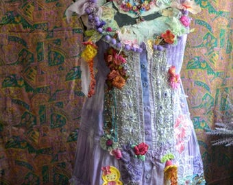 off Reworked dress boho gypsy wearable art art to wear dress altered couture dress upcycled dress embroidered with lace and  artsy flowers