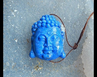 Carved Lapis Lazuli Buddha Head Pendant Bead Semi Gemstone Jewelry Gift Gem Customized,30x14x12mm,15.41g