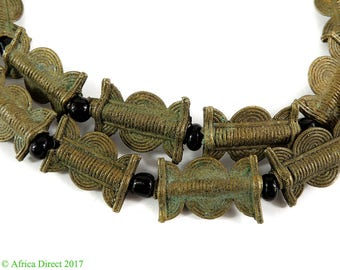 Baule Brass and Black Beads Cote d'Ivoire African 112657