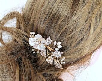 Gold Bridal Freshwater Pearl Hair Vine Comb Set. Flower Crystal Boho Leaf Headpiece. Mother Of Pearl Wedding Hair Clip, Pin, Tiara. JANE