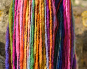 Handspun Art Yarn - Bright Glitter Rainbow- Self striping single ply aran - Hand dyed wool firestar sparkle custom skein Handmade TO ORDER