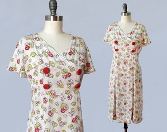 1930s Dress / 30s Cream Floral Day Dress / Flutter Sleeves