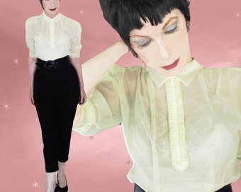 50s Nylon Blouse  - Womens Vintage Yellow Blouse - 1950s Sheer Nylon Blouse - Tuxedo Ruffle - Puffy Sleeves - Rockabilly Retro Top - VLV