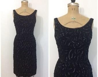 1950s 1960s Junior Theme Sequin Little Black Dress 50s 60s Wiggle Cocktail Party Dress