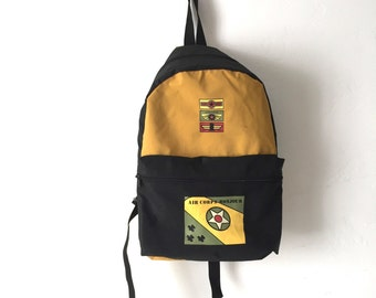 vintage backpack COLOR BLOCK fresh prince oxford simple classic 90s backpack book school bike bag
