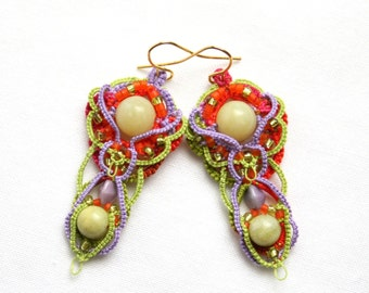 Artisan Mardi Gras Colorful Tatting Beaded Chandelier Dangle Style Orange Lime Purple Jade Earrings