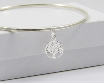 Solid Sterling Silver Bangle with Tree of Life Charm - Bracelet Bangle -  SS Bangle - Sterling Silver Bangle -  Hammered Bangle