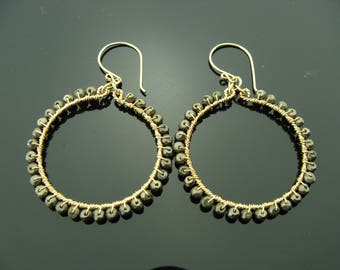 Pyrite Hoops 14K Gold Filled Gemstone Earrings