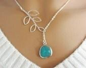 Aqua and Branch Lariat Necklace, Aquamarine Pendant, Leaf Branch Charm