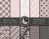 50% off Pink & Grey Paper Pack - 10 Printable Digital papers - 12 x12 - 300 DPI