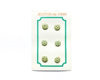 Vintage Button Card , 6 Gingham Wooden Buttons, Green