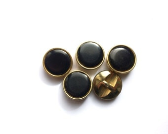 5 Large Black & Gold Vintage Buttons