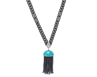 Art Deco Hand Woven Black Onyx & Enamel Sautoir Tassel Necklace