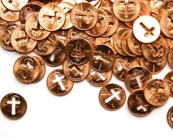 10 pennies from heaven . scratch off gender reveal . communion favors . baptism favors . baptism gifts . 1st communion favors