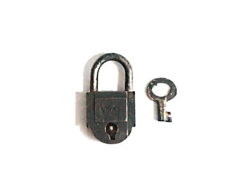 Vintage Miniature Lock and Key / tiny lock . love lock . small working lock . penny lock . gift for her gift for him #127