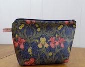 William Morris Iris Print Oilcloth Zipped Pouch- cosmetic bag make-up bag pencil case