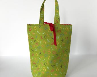 Fabric Gift Bag with Handles Medium - Tossed Alphabet on green
