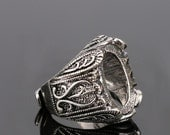 4pcs Antiqued Silver Color  Alloy Metal  Adjustable  Rings 12x18mm Oval Cameo Setting