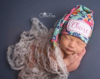 Newborn Name Hat - Newborn Personalized Hat - Baby Girl Hat - Newborn Hat - Infant Hat Hospital Hat