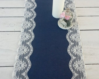 Navy burlap and Ivory lace table runner, blue burlap runner