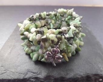 Memory Wire Bracelet with Shamrock Charm and Green Stone Beads, Irish Bracelet, Gift from Ireland