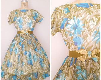 Vintage 1950s Dress / Floral Chiffon / 50s Dress / Party Dress / Small
