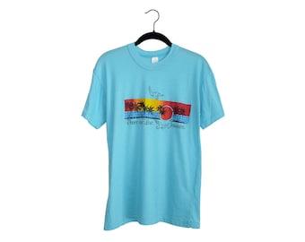 Vintage Peace & Love Jamaica Sunset Bird Palm Trees Bright Blue Tourist Super Soft Poly-Cotton Blend Crewneck T-Shirt, Made in USA