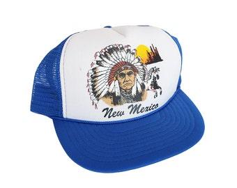 Vintage New Mexico Native American Headress White & Blue Mesh Panel Snapback Trucker Hat