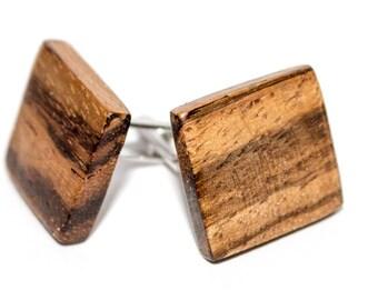 Wooden cuff links zebrano