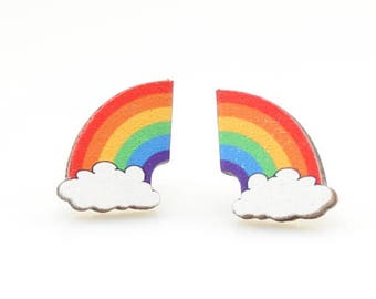 Rainbow Stud Earrings - Laser Cut Wood - Super light weight Earrings