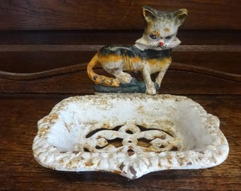 Vintage French cat white rusty cast iron metal soap dish holder sold separately circa 1970-80's / English Shop