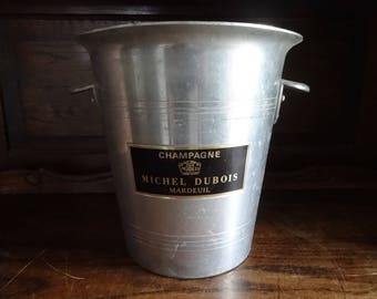 Vintage French Michel Dubois Chrome Nickel metal ice bucket wine Champagne circa 1980s / English Shop