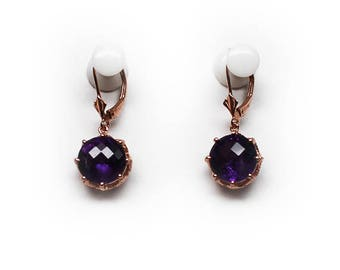 Sterling Silver 10 mm Amethyst Lever-back Earrings with Filigree setting