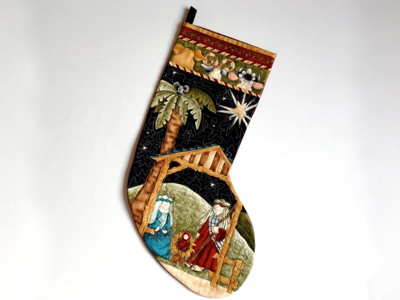 Quilted Christmas Stocking Whimsical Religious Nativity - Baby First Christmas - Holiday Decor - Kids Christmas Sock - Reason for the season