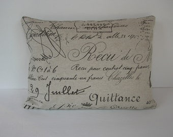 French Script Lumbar Pillow Cover - Beige with Chocolate Writing - Made to Fit 16 inch Pillow Insert